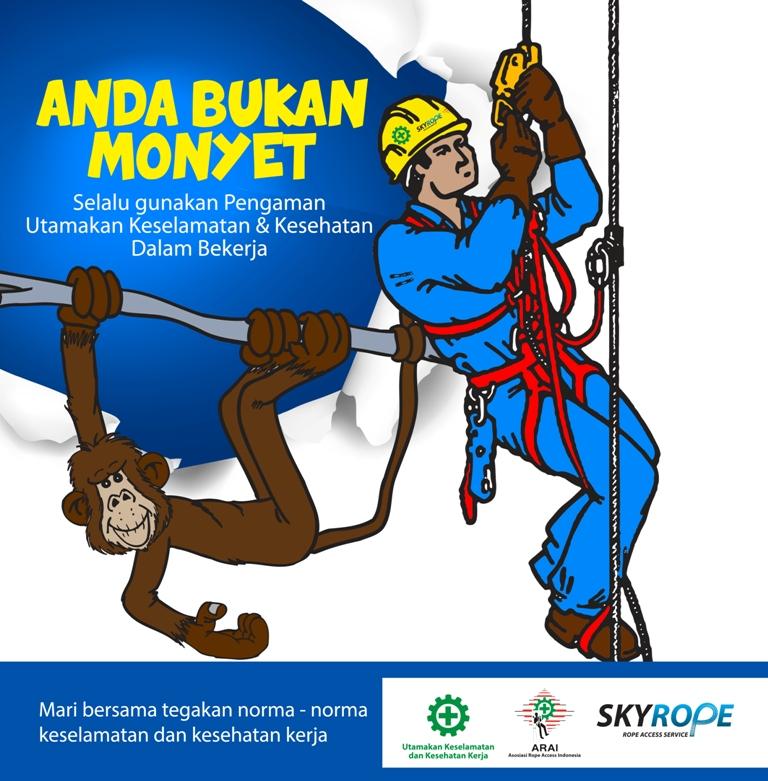 poster K3-Jasa Rope Access Akses Tali Pembersih Perawatan Cleaning Painting Sealant waterproofing Kaca Gedung Jakarta murah